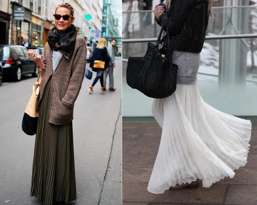 """O plissado do momento é feito com tecidos leves como chiffon e malha, e são de modelagem estreita, como uma releitura do estilo """"colegial""""."""