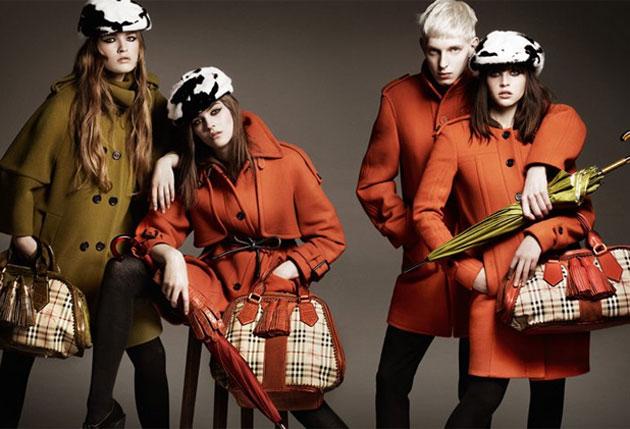 A campanha de inverno 2012 da Burberry apresenta um novo militar com cores quentes