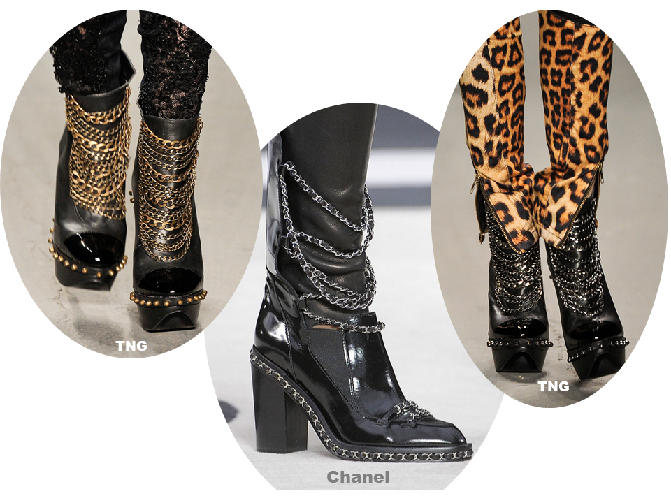 chanel chain boots