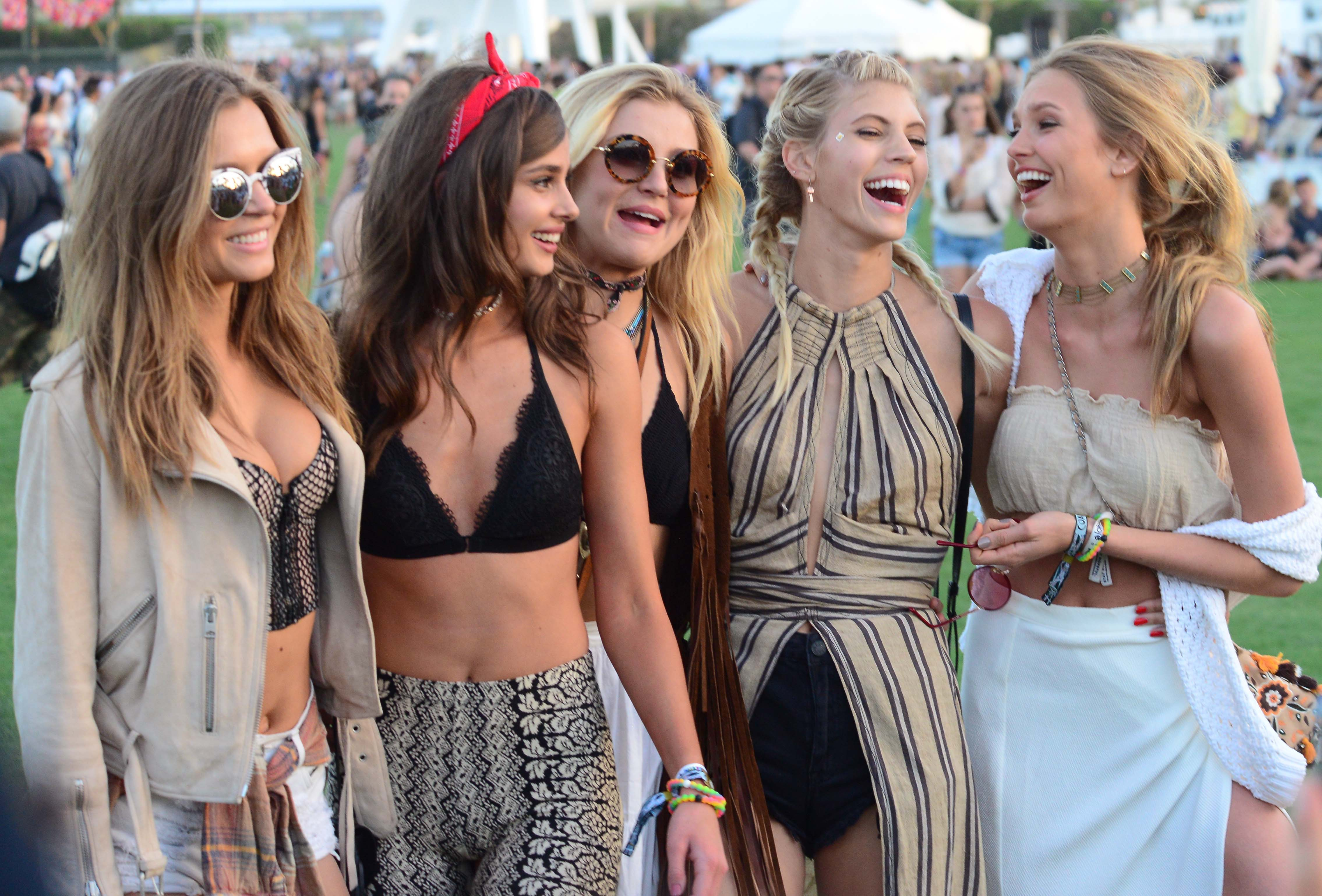 Victorias Secret Angels pose for selfies on day 1 of the Coachella Music Festival in Indio, Ca