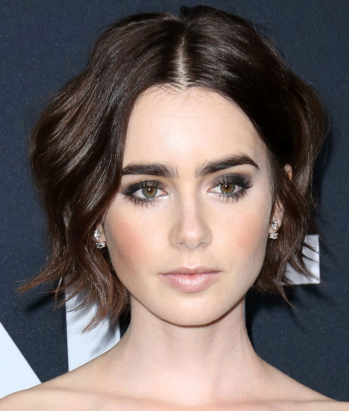 Lily-Collins-smoky-eyes-tousled-short-hair